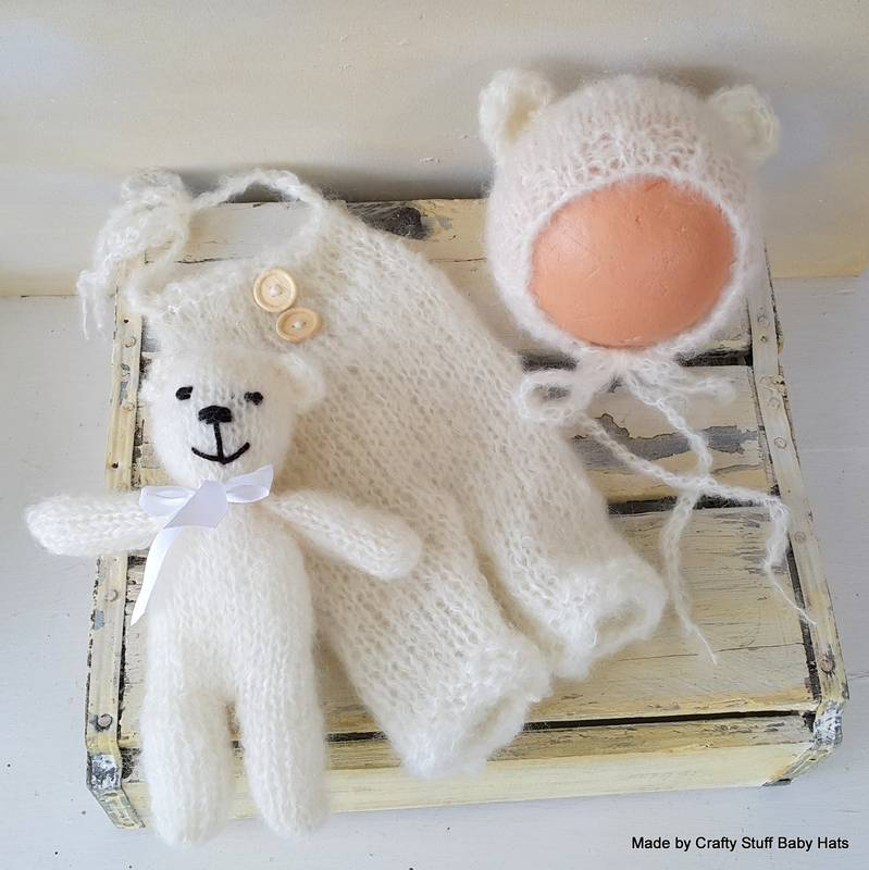 Mohair teddy bonnet, dungarees and toy
