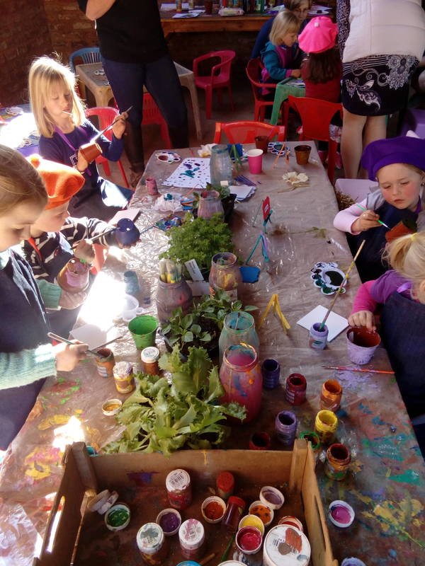 Green fingers. Every child gets pot, paint, sees and plant. they paint the pot and plant the plant and seeds to take home.