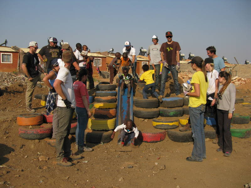 Building the playground at Ratang Bana- Alex, Johannesburg