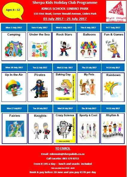 Holiday programme with different themes per day.