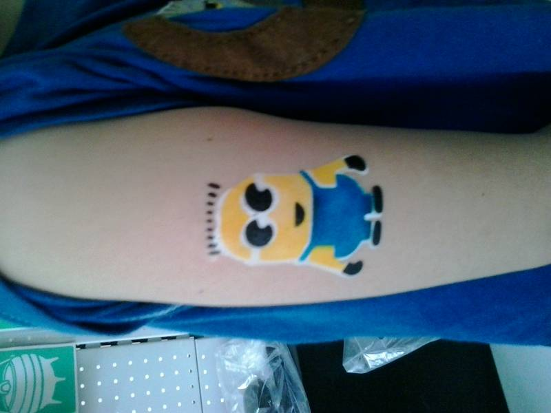Minion Multi layered airbrush tattoo