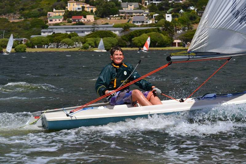Young sailor having fun on the water after having completed a learn to sail course at Imperial Yacht Club
