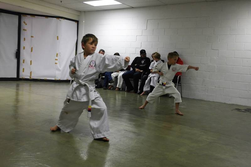 White belts at their first grading