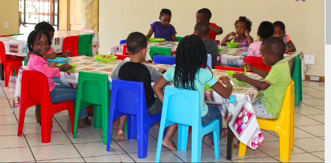 These are our table and chairs where the children can have their breakfast,lunch and sandwiches.