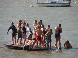 Sailing camp fun on the swimming platform