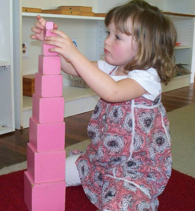 Building the Pink Tower in the Sensorial Classroom
