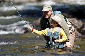 Family fly fishing
